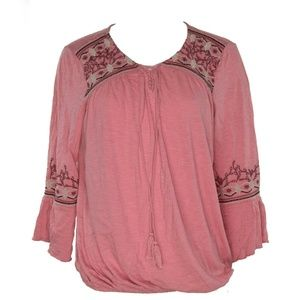 Style & Co Womens Embroidered Lantern Top L New